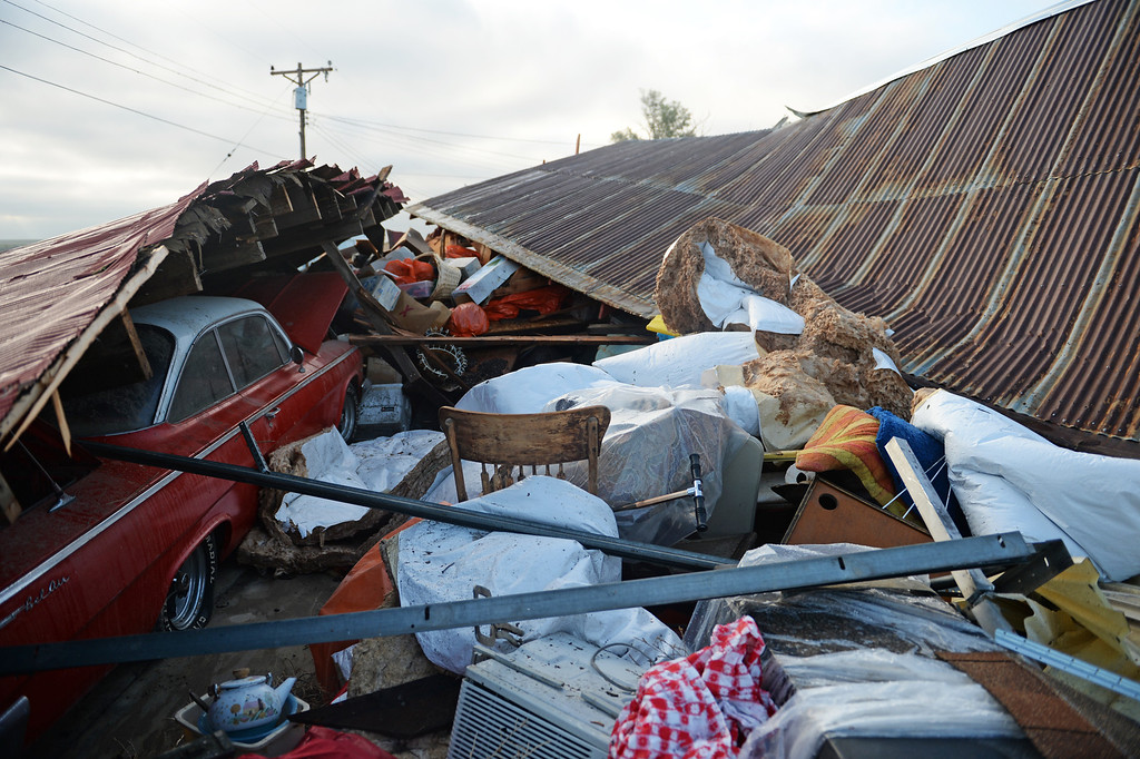 . Richard and Jennie Hoefler\'s barn was destroyed in Hugo after a lager storm moved through town over night, June 5, 2014. (Photo by RJ Sangosti/The Denver Post)