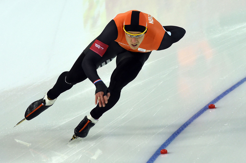 . Netherlands\' Stefan Groothuis competes in the Men\'s Speed Skating 1000 m at the Adler Arena during the Sochi Winter Olympics on February 12, 2014.  (DAMIEN MEYER/AFP/Getty Images)