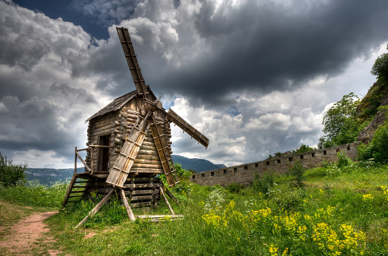 Broken windmill spotted in Belogradchik, Bulgaria