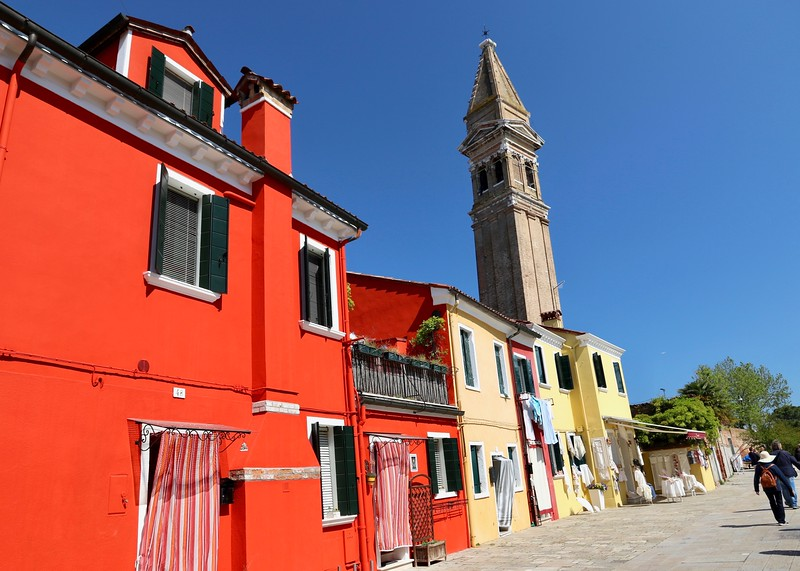 The campanile (bell tower) of the  16th century San Martino Church - Burano, Italy
