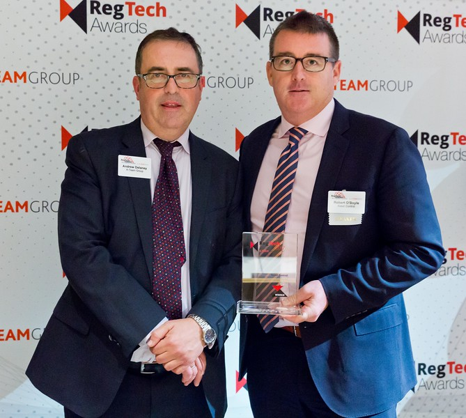 Andrew Delaney, A-Team Group and Robert O'Boyle, Asset Control, at the RegTech Summit for Capital Markets, NYC, November 16 2017.