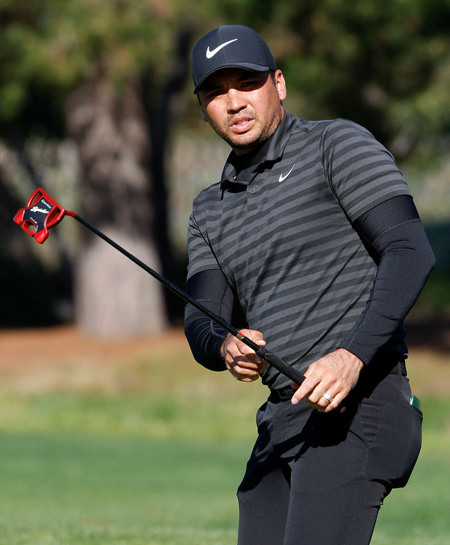 . Jason Day reacts to a missed birdie putt on the 2nd hole at the Pebble Beach Golf Links during the final round of the AT&T Pebble Beach Pro-Am on Sunday, Feb. 11, 2018.  (Vern Fisher - Monterey Herald)