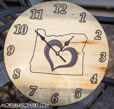 Custom: Rustic  Blue/ Stained Pine Clocks