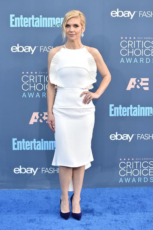 . Rhea Seehorn arrives at the 22nd annual Critics\' Choice Awards at the Barker Hangar on Sunday, Dec. 11, 2016, in Santa Monica, Calif. (Photo by Jordan Strauss/Invision/AP)