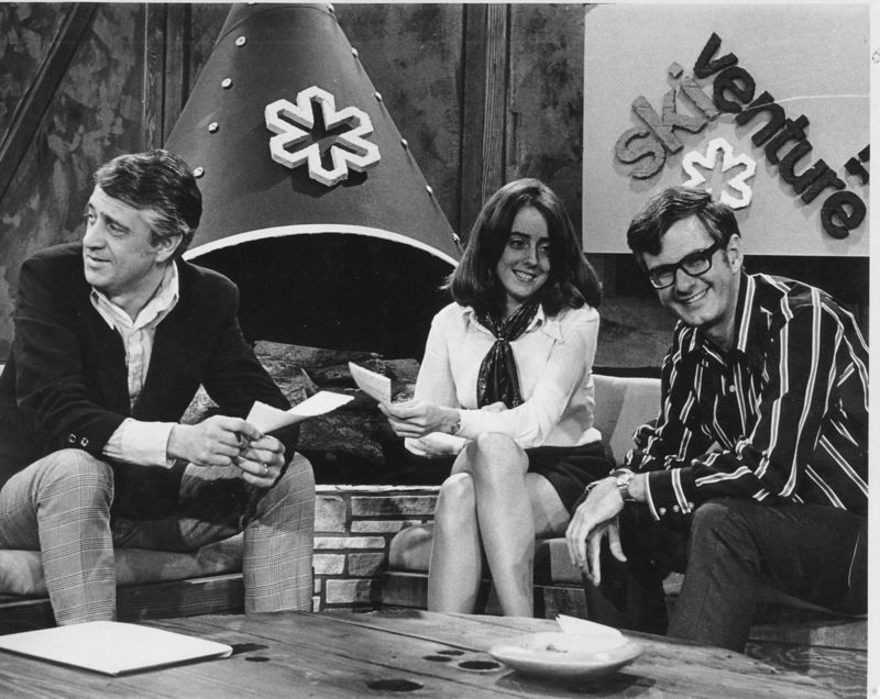 """Jean """"Legs"""" Barnum on the Ski Venture '70 set with the program hosts ~ UHF Channel 20, San Francisco.  [I need to do some reseach to find out the names of the two guys who hosted Ski Venture, memory being the ephemeral and fickle thing it is!"""
