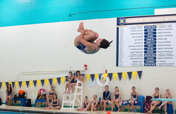 10/02/19 Wesley Bunnell | StaffrrBulkeley/HMTCA girls swimming at Newington on Wednesday afternoon. Alexa DePase.