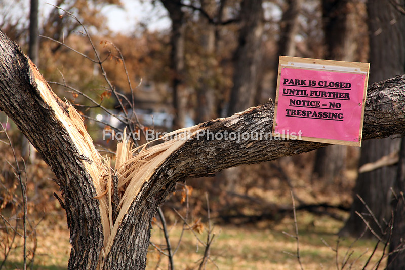 Havre Daily News/Floyd Brandt  The affect of the early winter storm closed Peppin Park because of fallen trees and tree limbs that are a danger to the public Wednesday Oct 11, 2017 Havre, Montana