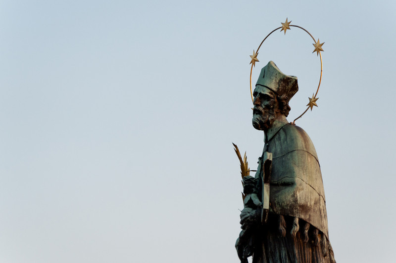 John of Nepomuk statue at Charles Bridge in Prague, Czech Republic