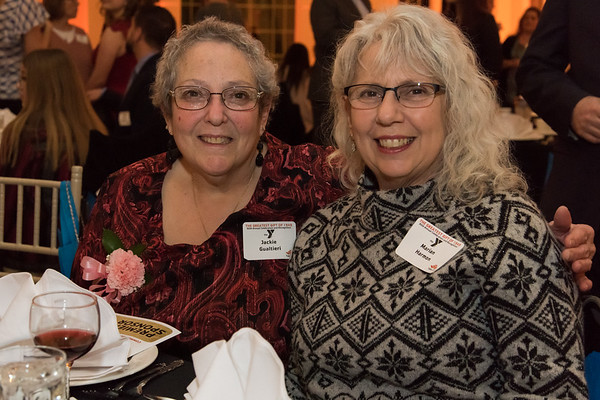 02/06/19 Wesley Bunnell | Staff The Southington YMCA held their 90th Annual Celebration and Recognition dinner at the Aqua Turf Club on Wednesday evening. Award winner from Fancy Bagel's Jackie Gualtieri, L, poses with her sister Marion Harmon.