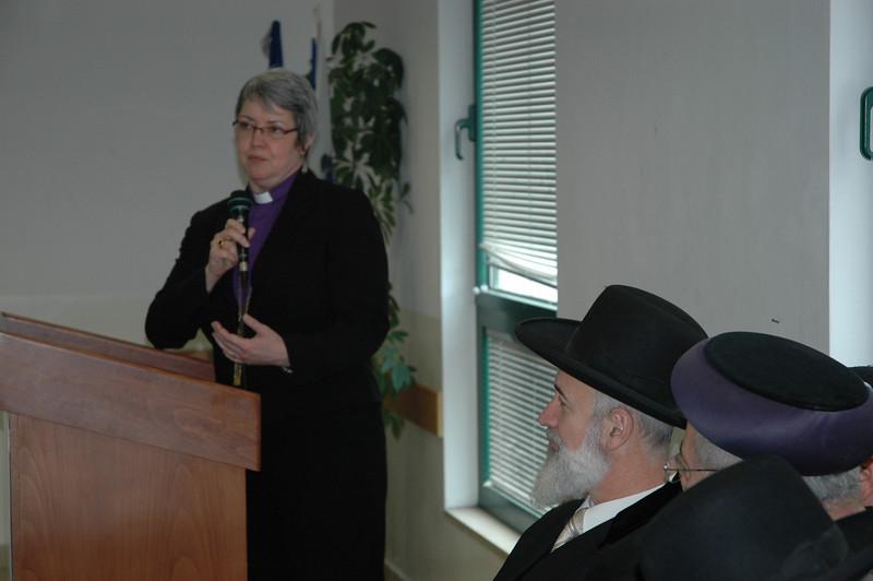 ELCIC National Bishop Susan Johnson addresses the two chief rabbis of Israel Jan. 8 in Jerusalem.