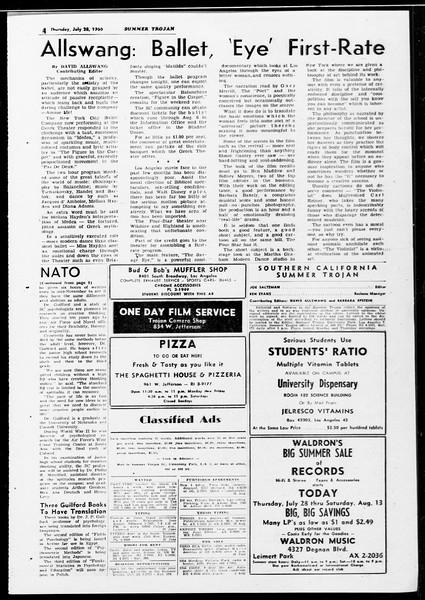 Summer Trojan, Vol. 10, No. 11, July 28, 1960