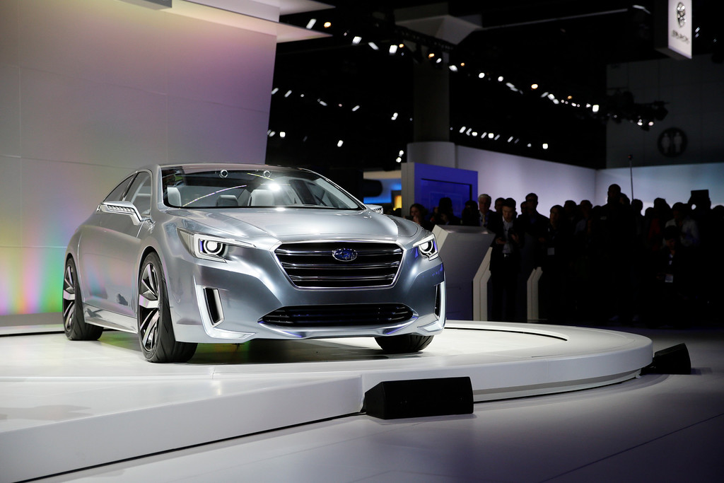 . The Subaru Legacy concept vehicle is introduced at the Los Angeles Auto Show on Wednesday, Nov. 20, 2013, in Los Angeles. (AP Photo/Jae C. Hong)