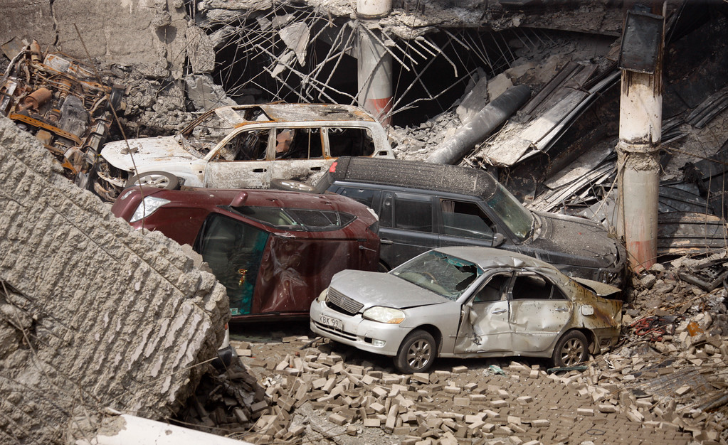 . This photo released by the Kenya Presidency shows the collapsed upper car park of the Westgate Mall in Nairobi, Kenya Thursday, Sept. 26, 2013.  (AP Photo/Kenya Presidency)