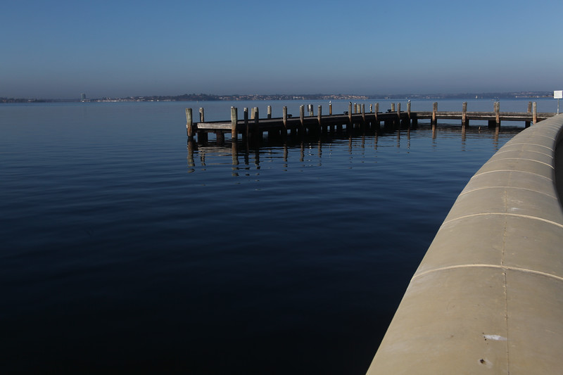 The boat jetty at the front of the old Swan Brewery on Perth's Swan River in Western Australia