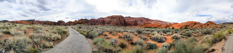 Panorama of the view from the bike path in Snow Canyon.