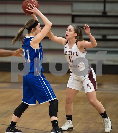 02/12/18 Wesley Bunnell | Staff Bristol Central vs Bristol Eastern on Senior Night at Bristol Central High School. Bristol Eastern's Hannah Maghini (11) vs Central's Ashley Macdonald (11).
