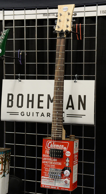 . Bohemian Guitars introduces their Oil Can guitars during The NAMM (National Association of Music Merchants) Show, the world wide music trade show, at the Anaheim Convention Center in Anaheim on Friday January 24, 2014. NAMM is a music trade show drawing retailers and other industry people to Anaheim for four days of everything music. (Staff Photo by Keith Durflinger/San Gabriel Valley Tribune)