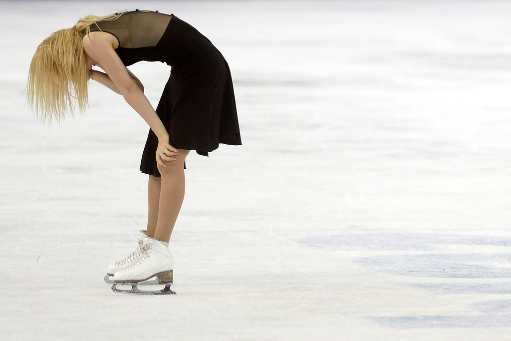 . Russia\'s Ekaterina Bobrova is overcome with emotion during the figure skating ice dancing free dance medal round. Sochi 2014 Winter Olympics on Monday, February 17, 2014. (Photo by AAron Ontiveroz/The Denver Post)