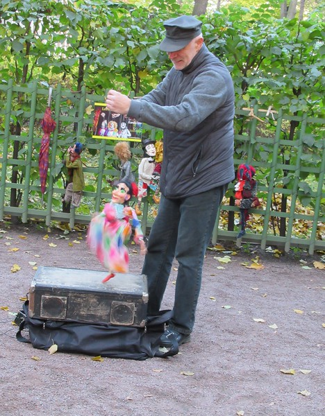 street performer with puppet