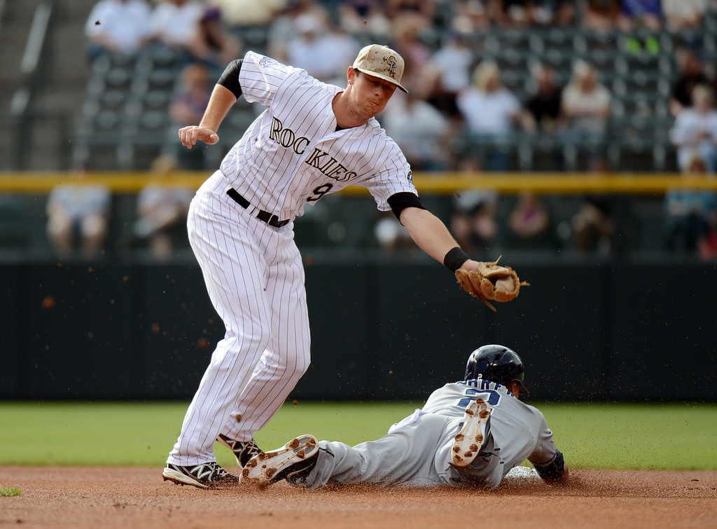 . Denver, CO. - June 08: Everth Cabrera of Diego Padres (2) steals 2nd base from DJ LeMahieu of Colorado Rockies (9) in the 1st inning of the game at Coors Field. Denver, Colorado. June 8, 2013.  (Photo By Hyoung Chang/The Denver Post)