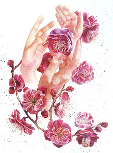 """""""The unity of nature & man"""" (watercolor) by Ekaterina Kosiak"""