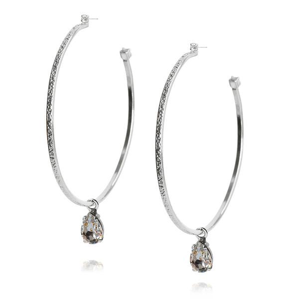 Loop Earrings / Black Diamond / Rhodium