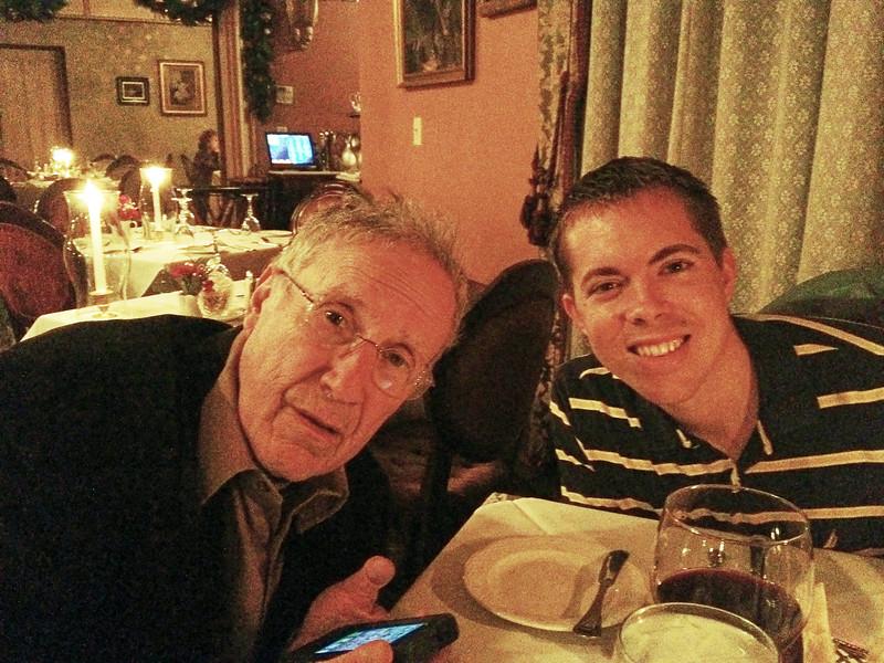 Larry Lebin and Nick, dinner at Herdic House. Dec 3 2011