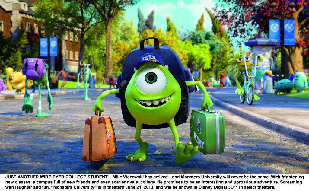 """. Mike Wazowski(Billy Crystal) arrives all bright eyed at \""""Monsters Univerity.\"""" Provided by Pixar."""