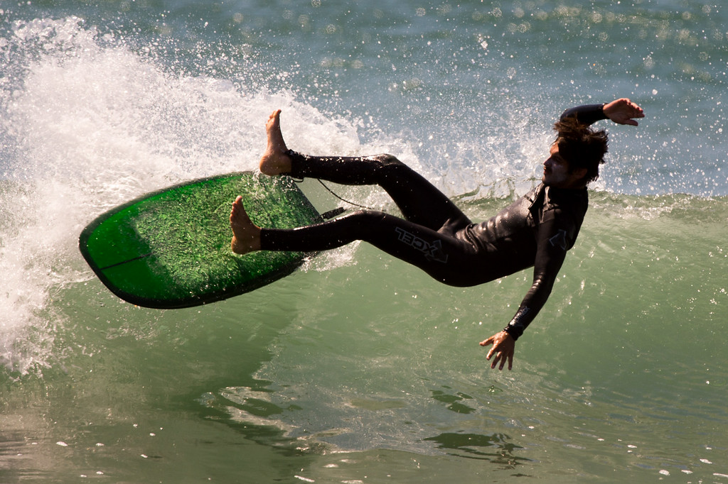 . A surfer wipes out at Surfer\'s Point in Ventura, Tuesday, August 26, 2014. (Photo by Michael Owen Baker/Los Angeles Daily News)