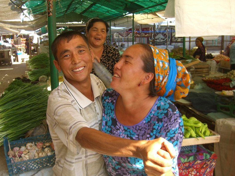 Dancing Couple at Market - Konye-Urgench, Turkmenistan