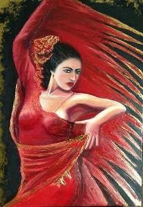 """Flamenco"" (oil on canvas, gold leaf, 5 Swarovski crystals) by Beko Victoria"