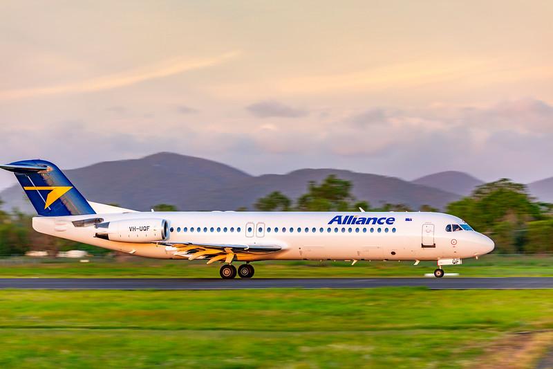 Alliance Airlines Fokker F100 VH-UQF departing Rockhampton Airport