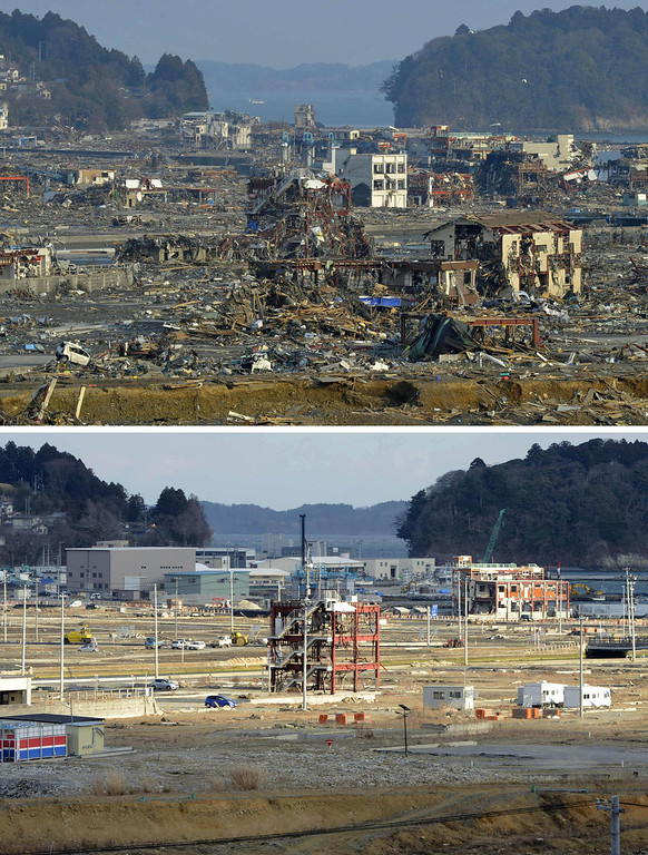 . This combination photo taken March 13, 2011, top, and Saturday, March 2, 2013, shows the frames of the Disaster Prevention Office building, center, and its surrounding area in Minamisanriku, Miyagi prefecture. March 11, 2013 is the 2-year anniversary of the earthquake and tsunami which devastated the northeastern Pacific coast of Japan. Japan\'s progress in rebuilding from the mountain of water that thundered over coastal sea walls, sweeping entire communities away and killing nearly 19,000 people, is mainly measured in barren foundations and empty spaces. Clearing of forests on higher ground to make space for relocation of survivors has barely begun. (AP Photo/Kyodo News)