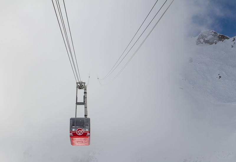 Cableway in fog