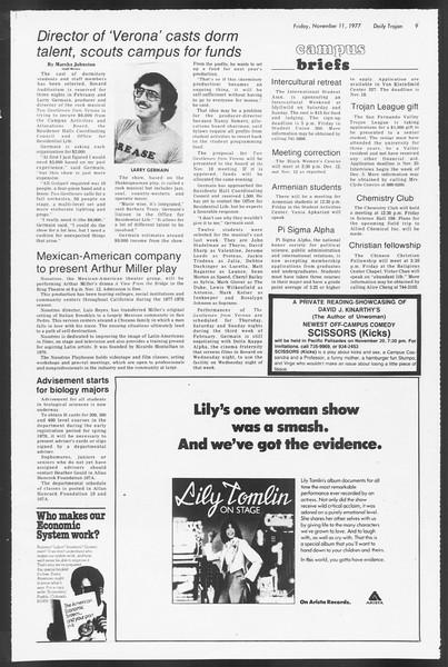 Daily Trojan, Vol. 72, No. 38, November 11, 1977