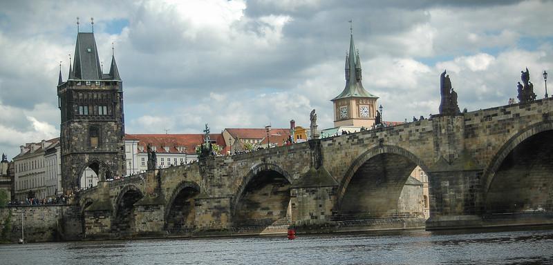 Prague: Charles Bridge, looking toward Old Town