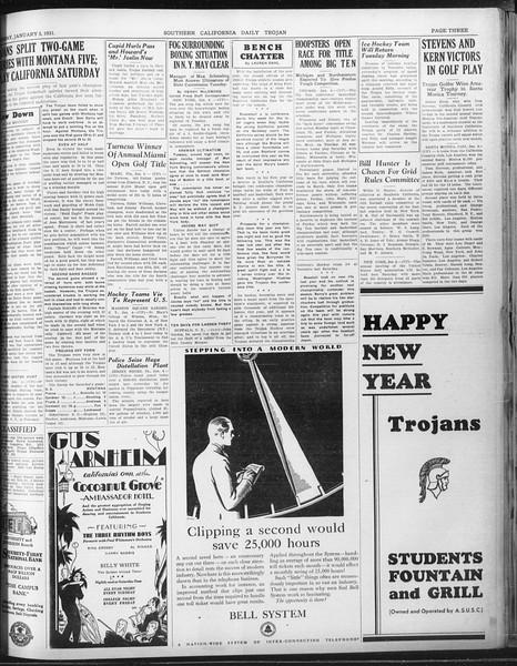 Daily Trojan, Vol. 22, No. 66, January 05, 1931