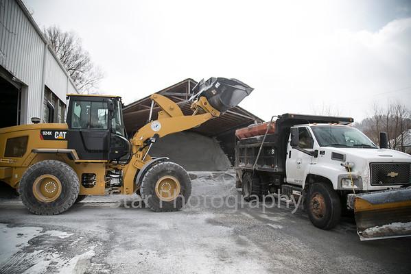 Highway Department Salt Truck Prepares For More Snow 02-19-15