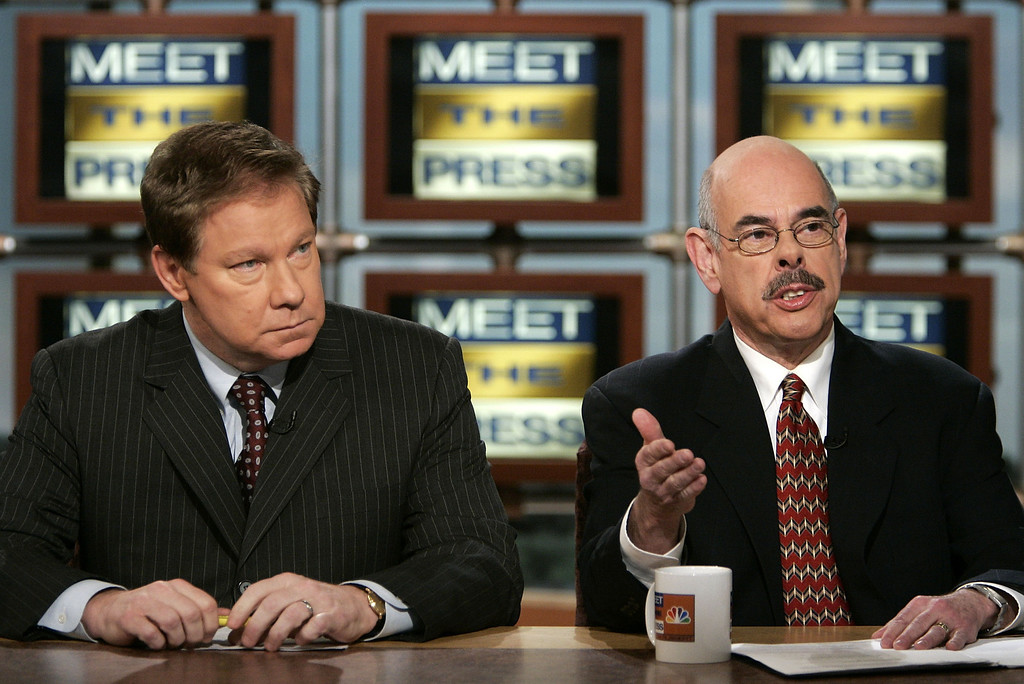 . U.S. Rep. Henry Waxman (D-CA) (R) gestures as he speaks while U.S. Representative Tom Davis (R-VA) listens on NBC\'s \'Meet the Press\' during a taping at the NBC studios March 13, 2005 in Washington, DC.   (Photo by Alex Wong/Getty Images)