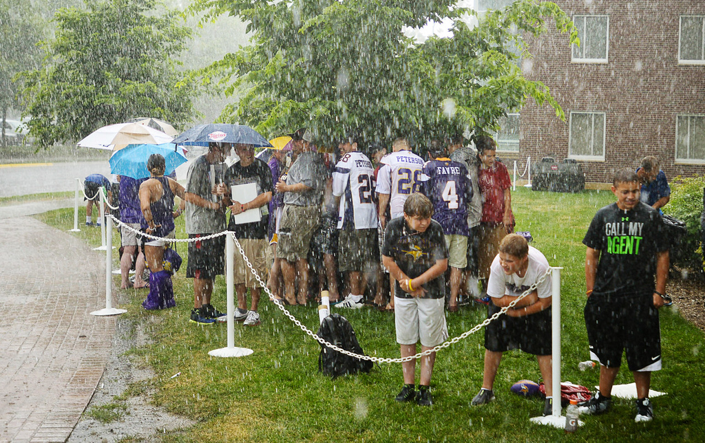 . Vikings fans find little shelter under a small tree as they wait out a heavy rainstorm for players to arrive at training camp. (Pioneer Press: Ben Garvin)