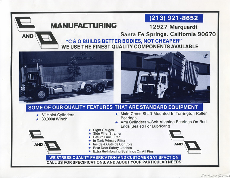 Single Page C&O Sales Brochure ca.1982