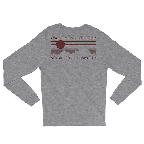 Outdoor Apparel - Organ Mountain Outfitters - Mens - Aggie OMO NMSU Long Sleeve Shirt - Heather Grey Crimson Back.jpg