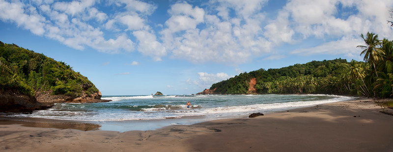 Panorama of a beautiful beach on Dominica.  Totally unspoiled and secluded.