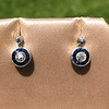 1.00ctw Old Mine Cut and Sapphire Target Dangle Earings 2