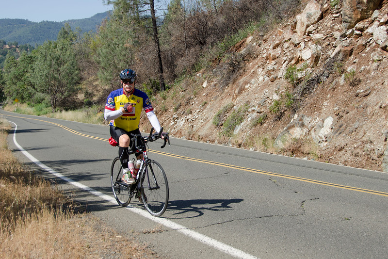 Climbing Honey Hill (this cyclist was very proud of his Purple Heart)