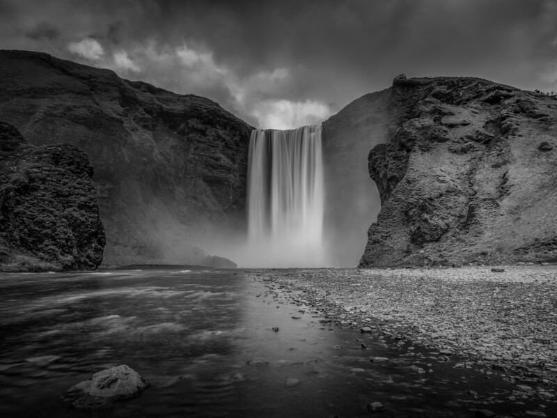 Black and White Iceland Waterfall   Black and White Photography by Wayne Heim