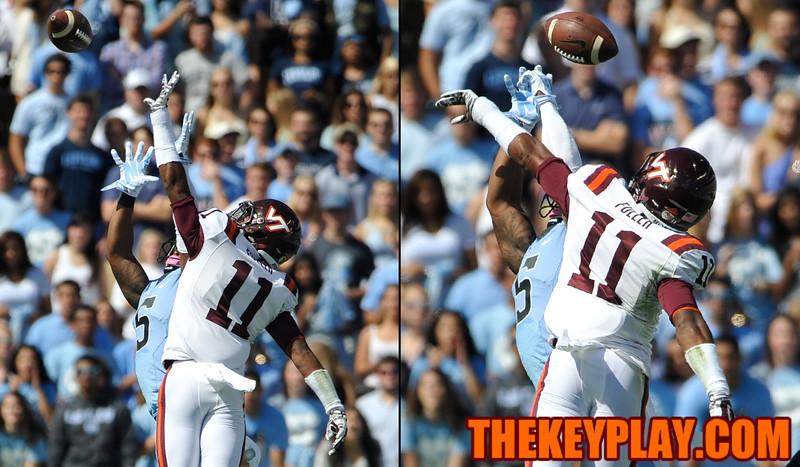 Virginia Tech Hokies cornerback Kendall Fuller (11) breaks up a pass intended for North Carolina Tar Heels wide receiver T.J. Thorpe (5). (Michael Shroyer/ Thekeyplay.com)