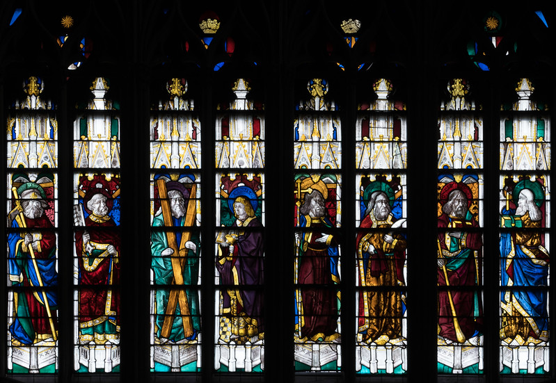Evreux Cathedral - The North Rose Lancet Windows, Four Apostles and Four Doctors of the Church