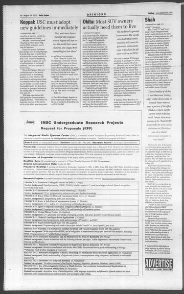 Daily Trojan, Vol. 144, No. 3, August 29, 2001