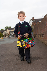 Ethan Goss leaving for his 1st day at Ballyholland Primary School. R1436001